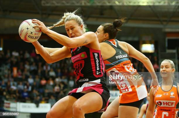 Chelsea Pitman of the Thunderbirds in action during the round nine Super Netball match between the Giants and the Thunderbirds at AIS on July 1 2018...