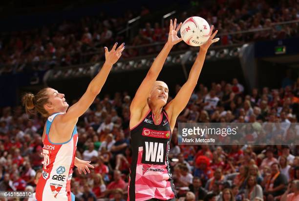 Chelsea Pitman of the Thunderbirds in action during the round two Super Netball match between the Sydney Swifts and the Adelaide Thunderbirds at...