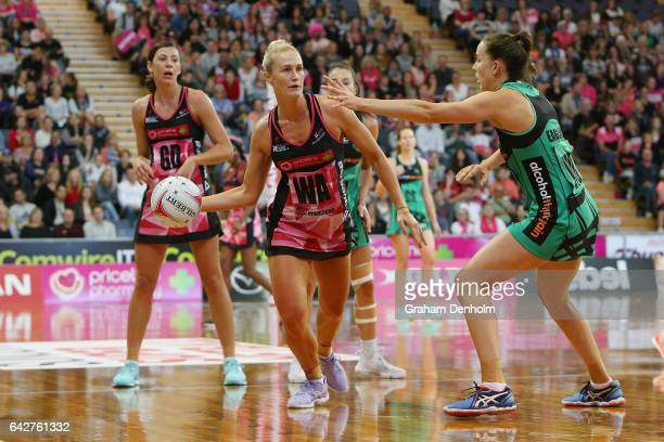 Chelsea Pitman of the Thunderbirds looks to pass during the round one Super Netball match between the Thunderbirds and Fever on February 19 2017 in...