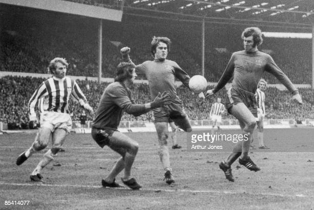 Chelsea play Stoke City in the League Cup Final at Wembley 4th March 1972 The three Chelsea players are Benett Webb and Osgood