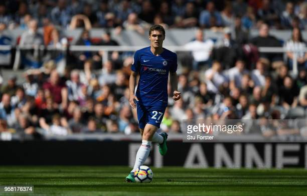 Chelsea player Andreas Christensen in action during the Premier League match between Newcastle United and Chelsea at St James Park on May 13 2018 in...