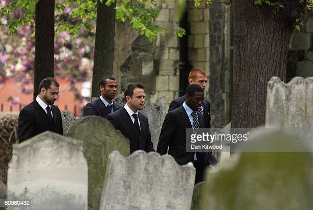 Chelsea player Ashley Cole attends the funeral of team mate Frank Lampards mother Pat at St Margaret's church in Barking on May 2 2008 in London...