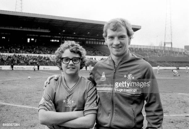 Chelsea player David Speedie with the match day mascot before the Division Two game between Chelsea and Blackburn Rovers Chelsea won 20