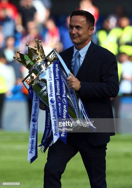 EX Chelsea player Dennis Wise bring out Premier League Trophy during the Premier League match between Chelsea and Sunderland at Stamford Bridge...