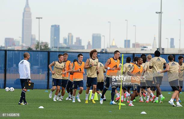 Chelsea player during a training session with Manhattan behind them at the Timex Performance Center on 21th July 2012 in New York USA