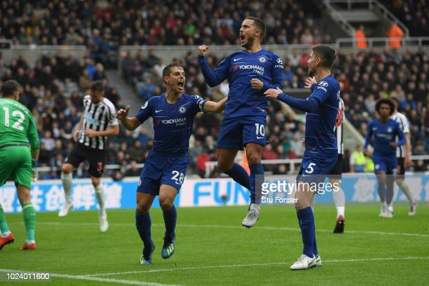 Chelsea player Eden Hazard ceebrates after scoring the first chelsea goal during the Premier League match between Newcastle United and Chelsea FC at...