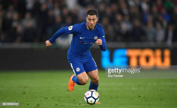 Chelsea player Eden Hazard in action during the Premier League match between Swansea City and Chelsea at Liberty Stadium on April 28 2018 in Swansea...