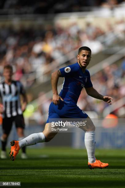 Chelsea player Eden Hazard in action during the Premier League match between Newcastle United and Chelsea at St James Park on May 13 2018 in...