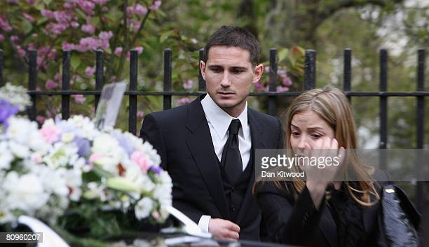 Chelsea player Frank Lampard and fiancee Elen Rives attend the funeral of his mother Pat at St Margaret's church in Barking on May 2 2008 in London...