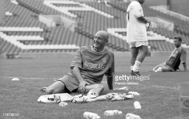 Chelsea player Frank Lebeouf during a PreSeason training session held in August 1999 at Stamford Bridge in London