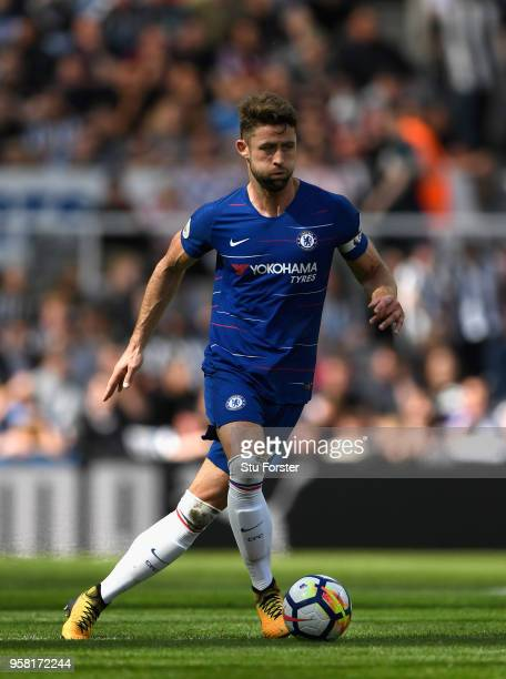 Chelsea player Gary Cahill in action during the Premier League match between Newcastle United and Chelsea at St James Park on May 13 2018 in...