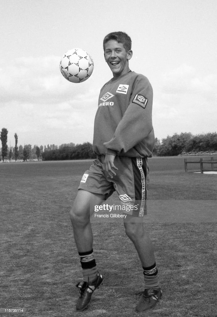Chelsea player Jon Harley during a training session held in August 1996 at Chelsea FC's Harlington training facility in London.