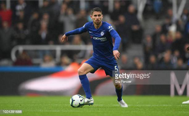 Chelsea player Jorginho in action during the Premier League match between Newcastle United and Chelsea FC at St James Park on August 26 2018 in...
