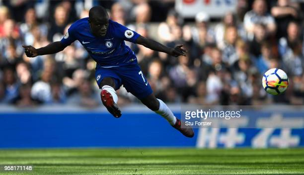 Chelsea player N'Golo Kante in action during the Premier League match between Newcastle United and Chelsea at St James Park on May 13 2018 in...
