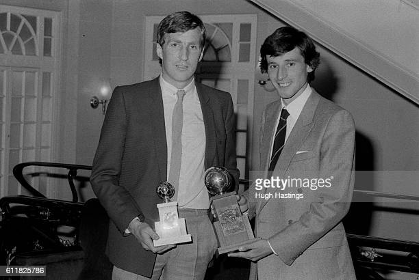 Chelsea Player of the Year Joey Jones is presented with his trophy by Olympic athlete and Chelsea fan Sebastian Coe