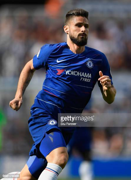 Chelsea player Olivier Giroud in action during the Premier League match between Newcastle United and Chelsea at St James Park on May 13 2018 in...