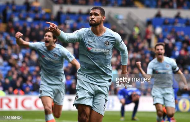 Chelsea player Ruben LoftusCheek celebrates his winning goal during the Premier League match between Cardiff City and Chelsea FC at Cardiff City...