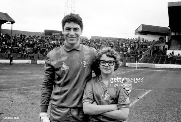 Chelsea player Steve Francis with the match day mascot before the Division Two game between Chelsea and Blackburn Rovers Chelsea won 20
