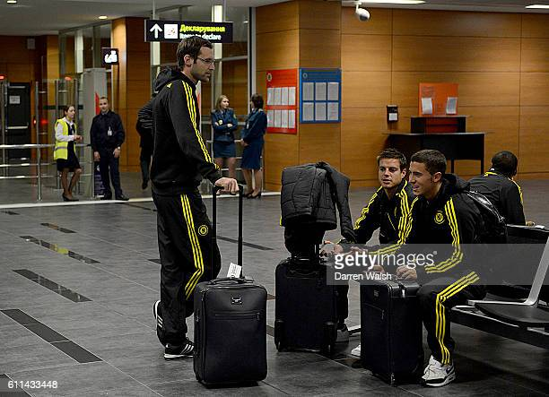 Chelsea players after arriving at Donetsk International Airport