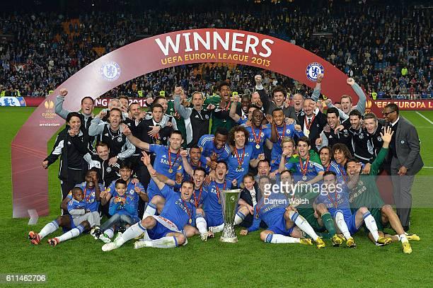 Chelsea players and staff celebrate winning the UEFA Europa League final
