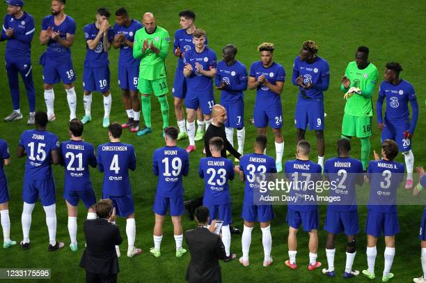 Chelsea players applaud Manchester City manager Pep Guardiola after the final whistle during the UEFA Champions League final match held at Estadio do...