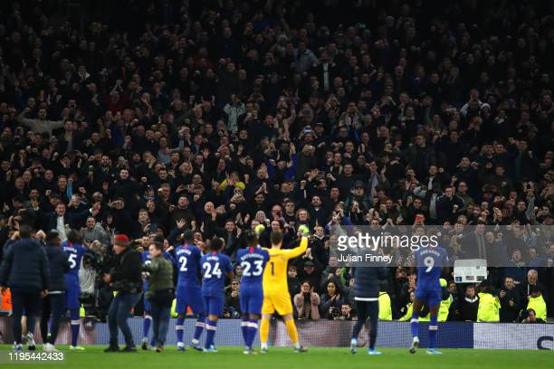 Chelsea players applaud their fans following victory during the Premier League match between Tottenham Hotspur and Chelsea FC at Tottenham Hotspur...