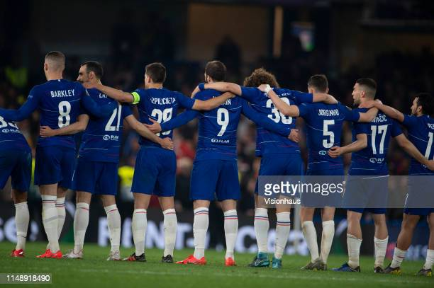 Chelsea players arm in arm during the penlaty shoot out during the UEFA Europa League Semi Final Second Leg match between Chelsea and Eintracht...