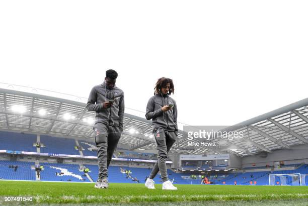 Chelsea players arrive prior to the Premier League match between Brighton and Hove Albion and Chelsea at Amex Stadium on January 20 2018 in Brighton...