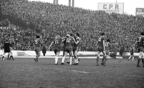 Chelsea players celebrate a goal during the FA Cup Third Round match between Chelsea and Liverpool held on January 7, 1978 at Stamford Bridge in...