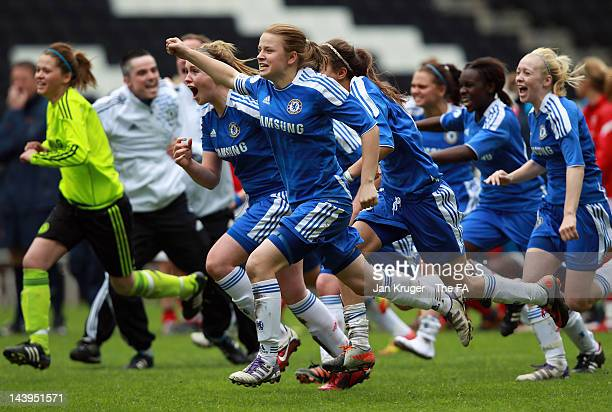 Chelsea players celebrate after the penalty shoot out during the FA Girls' Youth Cup U17s Centre of Excellence Final between Arsenal and Chelsea at...