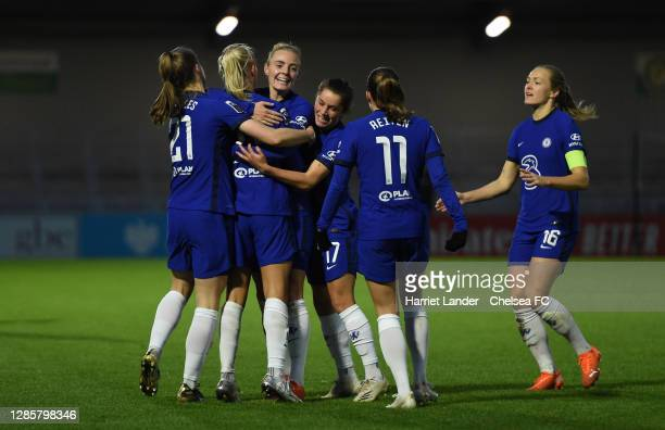 Chelsea players celebrate after their team's first goal during the Barclays FA Women's Super League match between Arsenal Women and Chelsea Women at...