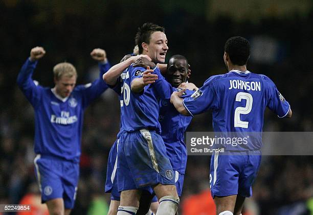 Chelsea players celebrate at the end of the Carling Cup Final match between Chelsea and Liverpool at the Millennium Stadium on February 27, 2005 in...