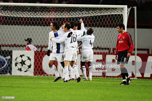 Chelsea players celebrate during the UEFA Champions League match between CSKA Moscow and Chelsea at The Lokomotiv Stadium in Moscow, Russia.