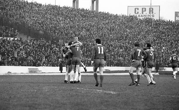 Chelsea players celebrate Steve Finnieston's goal in the second-half.