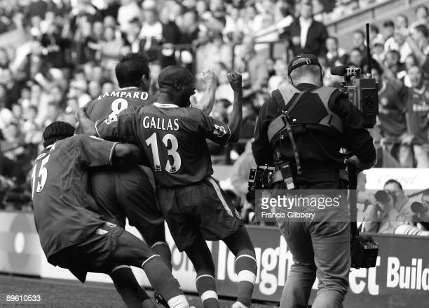 Chelsea players celebrate the goal by Frank Lampard that secured the league title during the FA Barclays Premiership match between Bolton Wanderers...