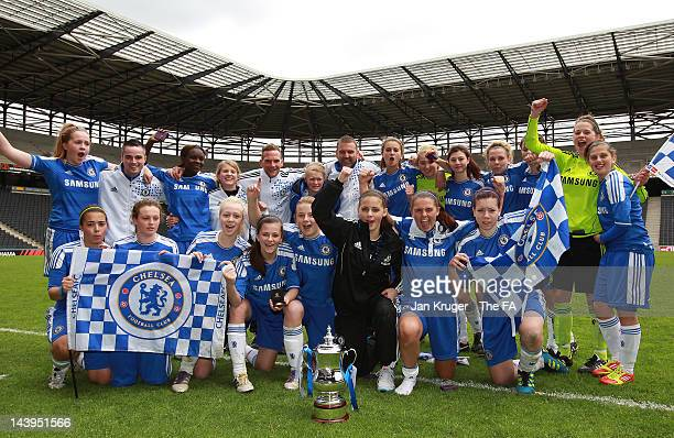 Chelsea players celebrate the win after the penalty shoot out during the FA Girls' Youth Cup U17s Centre of Excellence Final between Arsenal and...