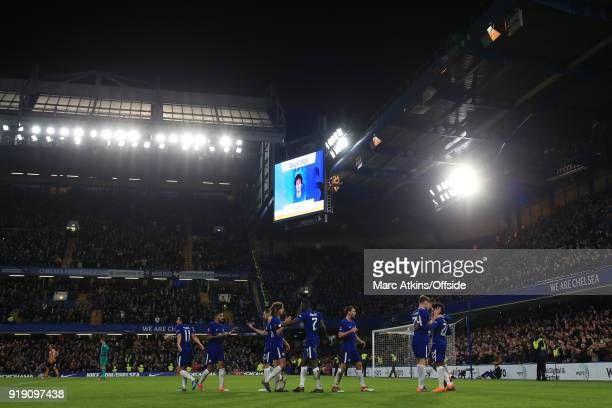 Chelsea players celebrate their 3rd goal scored by Willian during the FA Cup 5th Round match between Chelsea and Hull City at Stamford Bridge on...