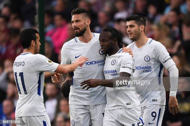 Chelsea players celebrate their sides first goal an own goal scored by Kevin Long of Burnley during the Premier League match between Burnley and...