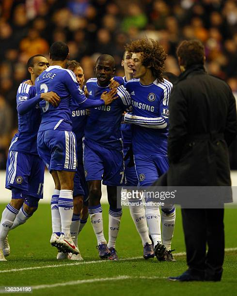 Chelsea players celebrate towards manager Andre VillasBoas as Ramires scores their first goal during the Barclays Premier League match between...