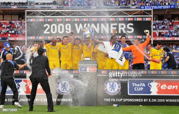 Chelsea players celebrate victory after the FA Cup sponsored by EON Final match between Chelsea and Everton at Wembley Stadium on May 30 2009 in...