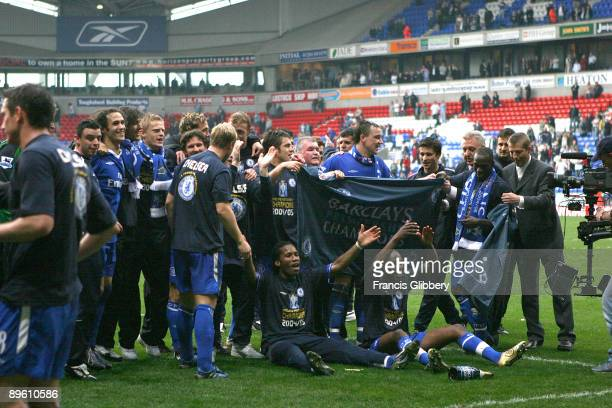 Chelsea players celebrate winning the league title after the FA Barclays Premiership match between Bolton Wanderers and Chelsea held on April 30 2005...