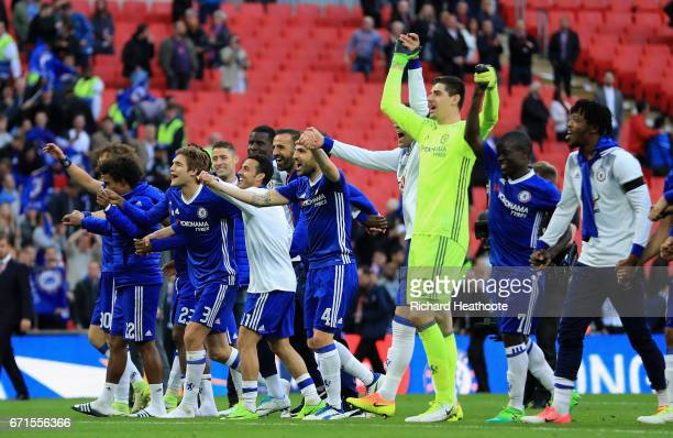 Chelsea players celebrate with fans during The Emirates FA Cup SemiFinal between Chelsea and Tottenham Hotspur at Wembley Stadium on April 22 2017 in...