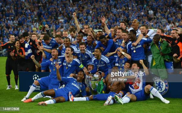 Chelsea players celebrate with the trophy after their victory in the UEFA Champions League Final between FC Bayern Muenchen and Chelsea at the...