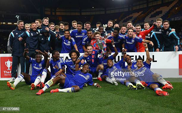 Chelsea players celebrate with the trophy after winning the FA Youth Cup Fina Second Leg match between Chelsea and Manchester City at Stamford Bridge...