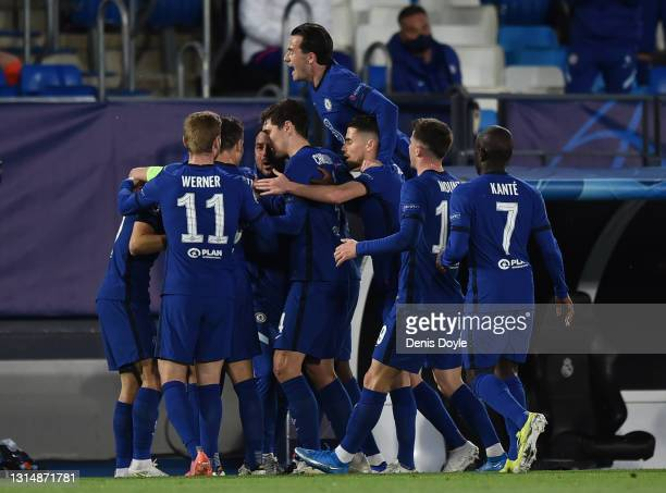 Chelsea players celebrates after scoring their opening goal during the UEFA Champions League Semi Final First Leg match between Real Madrid and...