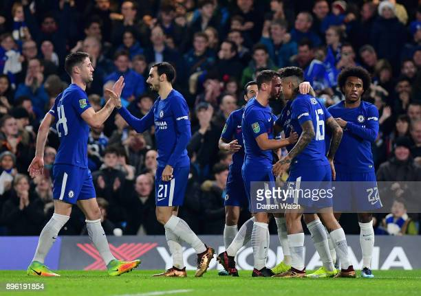 Chelsea players celebrates after Willian scores his sides first goal during the Carabao Cup QuarterFinal match between Chelsea and AFC Bournemouth at...