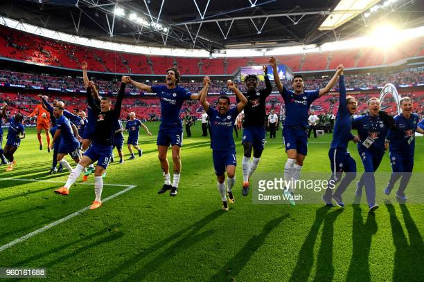 Chelsea players celebrates their sides victory following The Emirates FA Cup Final between Chelsea and Manchester United at Wembley Stadium on May 19...