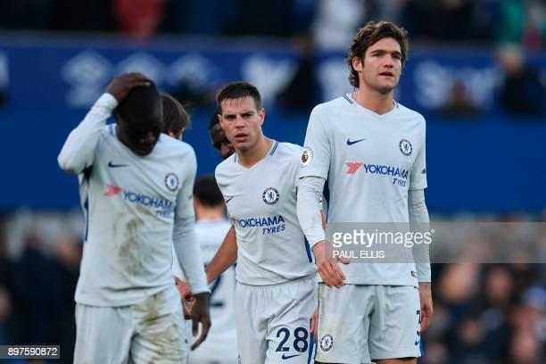 Chelsea players Chelsea's French midfielder N'Golo Kante Chelsea's Spanish defender Cesar Azpilicueta and Chelsea's Spanish defender Marcos Alonso...