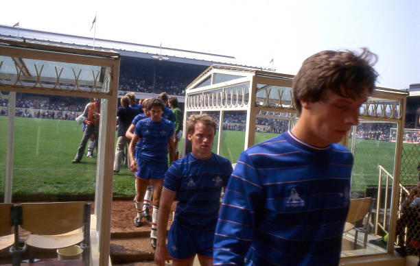 Chelsea players Dale Jasper, David Speedie and Colin Lee leave the field of play after the match the Canon League Division One match between Arsenal...