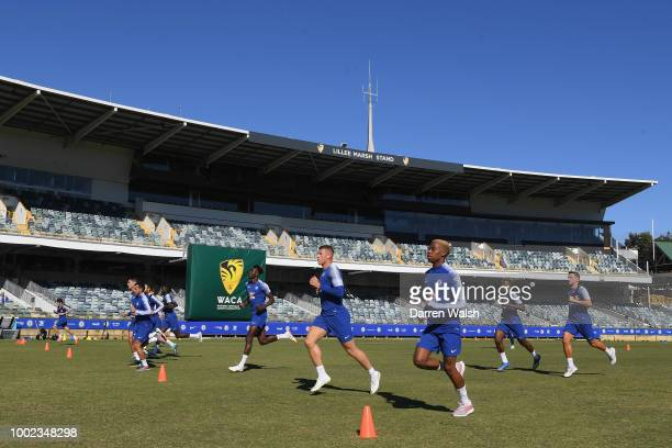Chelsea players during a training session at the WACA in Perth on July 20 2018 in Perth Australia